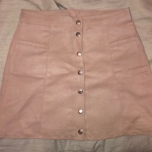 Light pink, suede, button-down mini skirt